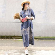 Autumn New Retro Cotton Linen Loose Gown Blue Dress