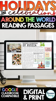 Holidays and Celebrations Bundle Around the World Reading Passages and Worksheets Questions - Reading Comprehension Passages, Questions, and Annotations 2 versions included for all reading passage files: Digital Google Slides {Google Classroom Compatible} Printable PDF Versions **BONUS RESOURCE - Interactive Digital Map in Google Slides for students to link their passages! Teaching Activities, Teaching Writing, Student Teaching, Teaching Science, Teaching Ideas, Sixth Grade, Third Grade, School Site, Teacher Helper