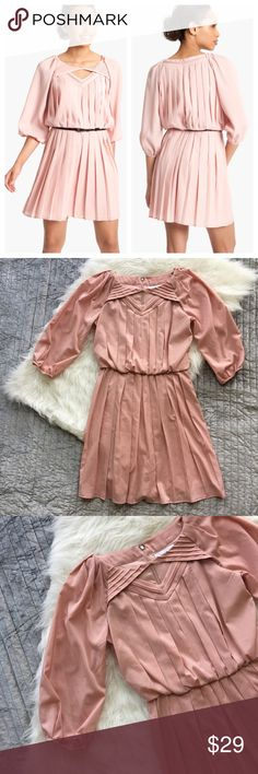 "✨ Jessica Simpson Pleated Crepe de Chine Blouson Excellent preloved condition. Armpit to armpit 18"" Waist 14"" Length 34"". Size 4. Offers welcome. Jessica Simpson Dresses Long Sleeve"