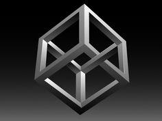 Impossible cube Art Optical, Optical Illusions, Petite Tattoos, Escher Art, Impossible Shapes, Opt Art, Square Art, Geometry Art, Illusion Art