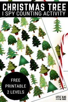 I Spy Christmas tree counting math activity and free printable pages