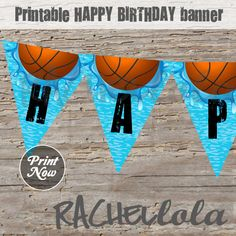 Basketball Pool Party Banner, Instant Download