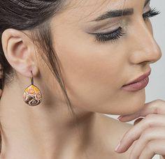 Mothers Day Gift Everyday earrings, brown and orange rose earrings, brown, orange, romantic earrings, elegant earrings, s, roses earrings, P