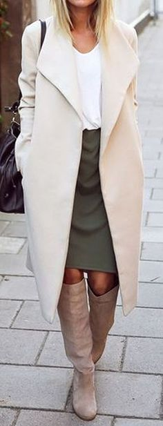 Trench Coat & Thigh High Boots ❤︎ #streetstyle #winterfashion