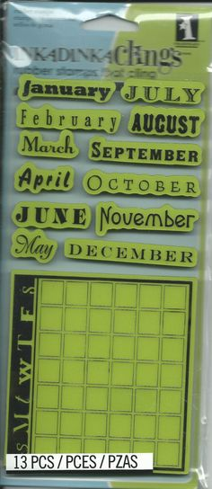 Rubber Stamp Set    NEW   Month Data by CynthiasCraftingNook