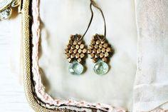 Moss Aquamarine Earrings / Drop Dangle Brass Earrings / Boho Sea Green Earrings