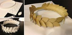 Laurel Wreath --Apollo Costume [God of Music, Arts & Enlightenment] ---Create a headband with poster board. Draw leaves and cut them out. Use hot glue to stick the leaves in place, overlapping as you go. Color with gold spray paint.