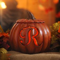 Pre-Lit Monogram R Pumpkin   Kirklands. I want one of these