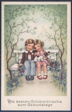 Geburtstagskarte - Pärchen mit Hund ( K00754 ), Briefmarken-Versand-Welt - Briefmarken, Ansichtskarten und mehr