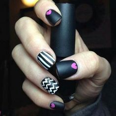 Cute Black Nails With Stripes, Chevron, And Little Pink Hearts <3