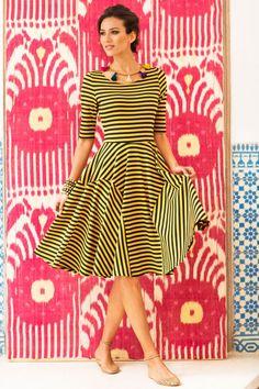 Saffron Dress - stripey