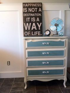French Provincial dresser finished in ASCP Olde White, and Provence. I love me some turquoise:)