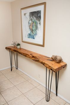 Custom 7.5ft Mesquite Live Edge Buffet/Console Table with Hairpin Legs
