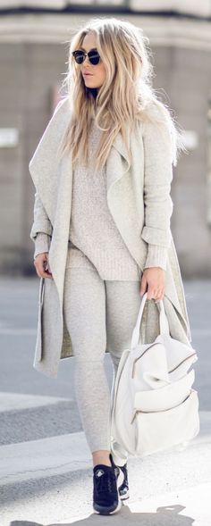 I love this shade of gray. It is almost white. It is gorgeous. This outfit looks comfy.