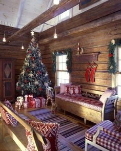 cabin Christmas (love the red and white) Christmas Living Rooms, Christmas Room, Noel Christmas, Little Christmas, All Things Christmas, Winter Christmas, Christmas Candles, Christmas Dance, Christmas Morning
