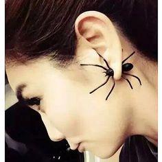 USTAR 새로운 펑크 큰 검은 거미 스터드 귀걸이 패션 귀 커프 귀걸이 Brincos 비쥬 크리스마스 선물