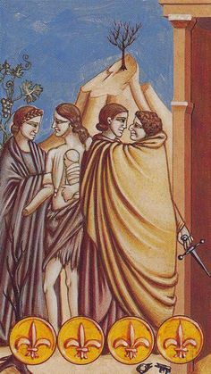Four of Coins - Giotto Tarot by Guido Zibordi