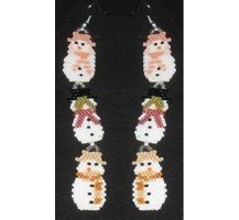 Hear No Evil, See No Evil, Speak No Evil Snowmen Earrings Bead Pattern This pair of earrings matches the pen wrap.  You can make the earrings with one, two or all three snowmen.  There is also a bracelet to match.