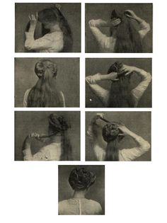 Gibson girl hair to-do - Recamier Coiffure. From Girls Own Paper and Womans magazine, 1911. Text instructions here.