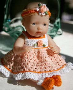 Crochet outfit Berenguer 7.5 or Circo 8 inch slim baby doll Sundress with full skirt Set Peach Orange White