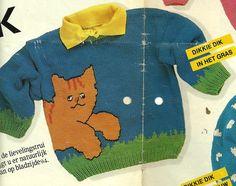 DIY via Marktplaats: Breipatroon Dikkie Dik in het Gras trui. Verkrijgbaar in de maten 80 - 98 en 110. Hello Kitty, Kids Rugs, Baby Haken, Knitting, Handmade, Crafts, Vest, Memories, Craft Work