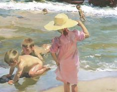 THE YOUNG AMPHIBIANS BY JOAQUIN SOROLLA - FAMOUS ART - HANDMADE OIL PAINTING ON CANVAS