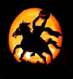 Headless horse man carved pumpkin