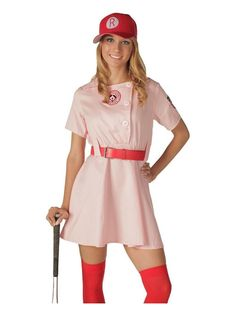 Rockford Peaches AAGPBL Pink Baseball Womens Costume Dress