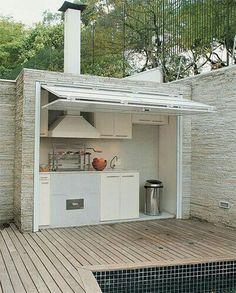 Patio hideaway kitchen.... great idea!