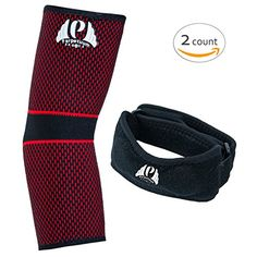 Perpetuum Sports Bundle   1 Elbow Sleeve Support & 1 Elbow Tennis Brace   Complete support and Pain Relief for Tennis & Golfer's Elbow (Medium) ** Be sure to check out this awesome product.