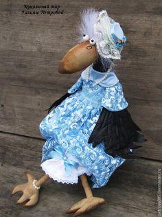 Купить Карлуша и Карочка - голубой, подарок, подарок на свадьбу, интерьерная кукла, интерьерная игрушка, ворона
