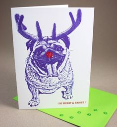 Pug a la Rudolph Merry and Bright Holiday Cards  4 by FuzzyMug, $12.00