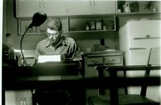 "Allen Ginsberg writing ""Howl,"" 1010 Montgomery St., SF, 1955."