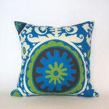 So Cool Suzani Blue Outdoor Pillow