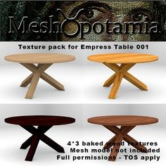 This texture addon kit consists of 4 different sets of 3 baked original wood textures: Tabletop, Legs with shading from the tabletop, and legs with. Texture Packs, Wood Texture, Tabletop, Dining Room, The Originals, Furniture, Home Decor, Decoration Home, Table