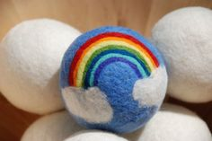 needle felted wool rainbow ball