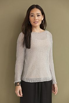 Free pattern:  This boatneck pullover is a simple knit, with the shimmer of cotton yarn Flora.