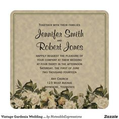I definitely do not want a vintage look.  Vintage Gardenia Wedding Invitation