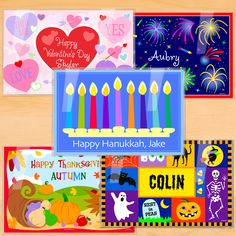 Hanukkah 5 Piece Holiday Personalized Placemat Set