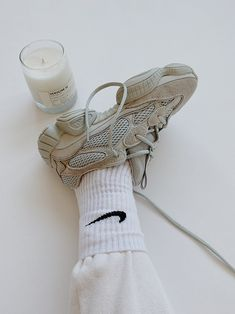 White and Neutrals Aesthetic Shoes, White Aesthetic, Kanye Yeezy, Adidas Sneakers, Shoes Sneakers, Magazine Mode, Nike Socks, Hype Shoes, Sock Shoes