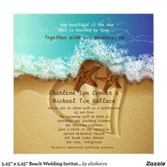 "5.25"" x 5.25"" Beach Wedding Invitation"