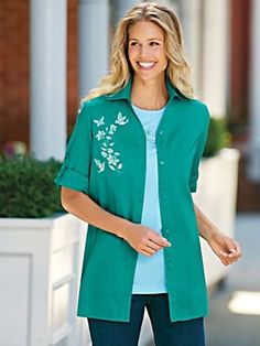 Embroidered Twinset - <p> 	One-of-a-kind embroidery makes our popular twinset a must have! Two perfectly coordinated pieces easily pair with your favorite skirts or pants.