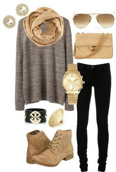 Grey sweatshirt, tan scarf, booties, purse, gold watch, brown shades, pearl earrings, black skinny jeans