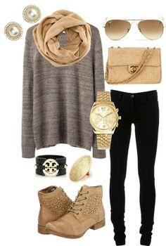 Grey sweatshirt, tan scarf, booties, purse, gold watch, brown shades, pearl earrings, black skinny jeans