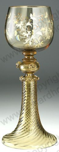Enamelled roemer wine glass by Theresienthal, c. 1900