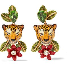 Dolce & Gabbana Gold-tone, enamel and crystal clip earrings (€790) ❤ liked on Polyvore featuring jewelry, earrings, leaves earrings, tear drop earrings, crystal earrings, enamel flower earrings and gold tone earrings
