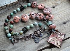 RESERVED for Anne - Earthy bohemian necklace, Marsala necklace, Artisan statement necklace, Art beads and natural stone necklace, Unique by JeSoulStudio on Etsy https://www.etsy.com/listing/217106392/reserved-for-anne-earthy-bohemian
