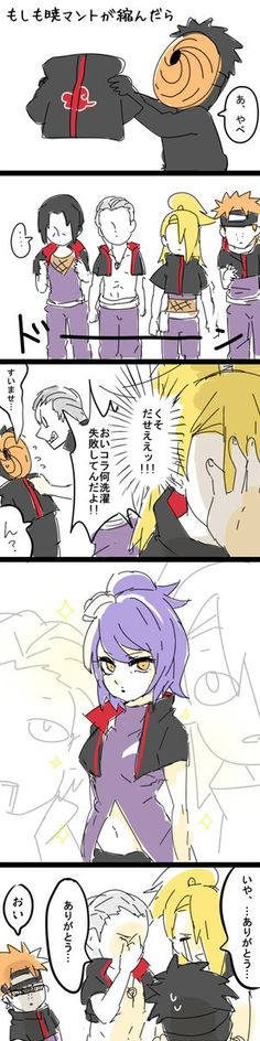 "Akatsuki | Uniform | Obito | Hidan | Deidara | Konan | Pain | ""If Obito shrinks the Akatsuki Uniform"" art by Azu (Twitter: @aju00_dyd)"