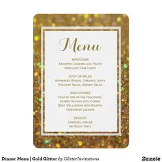 Dinner Menu   Gold Glitter