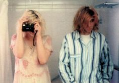 Courtney Love & Kurt Cobain on their wedding day, 1992.